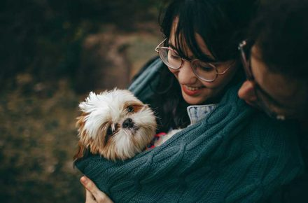 perro con chica